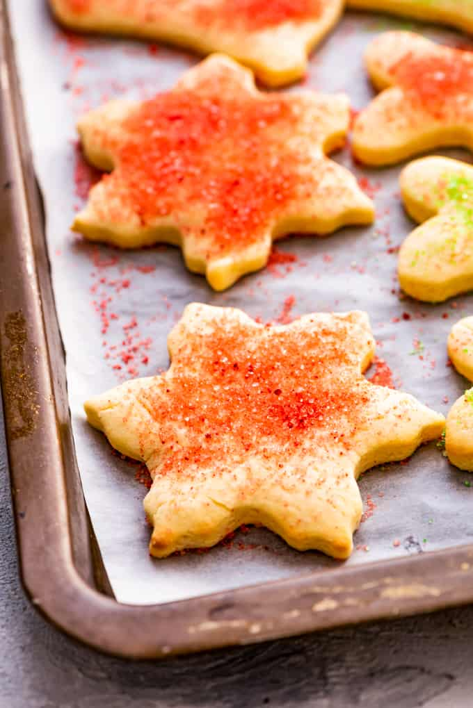 Sugar cookies sprinkled with sanding sugar.
