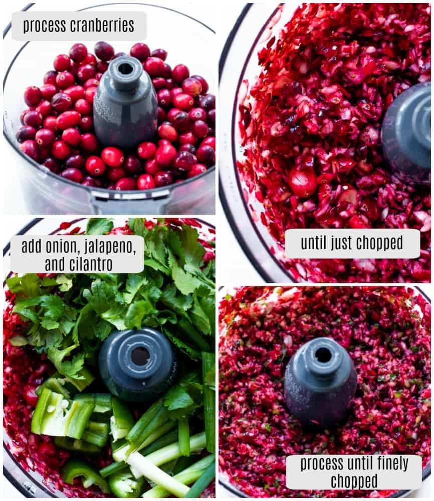 Step by step photos of how to make cranberry salsa.