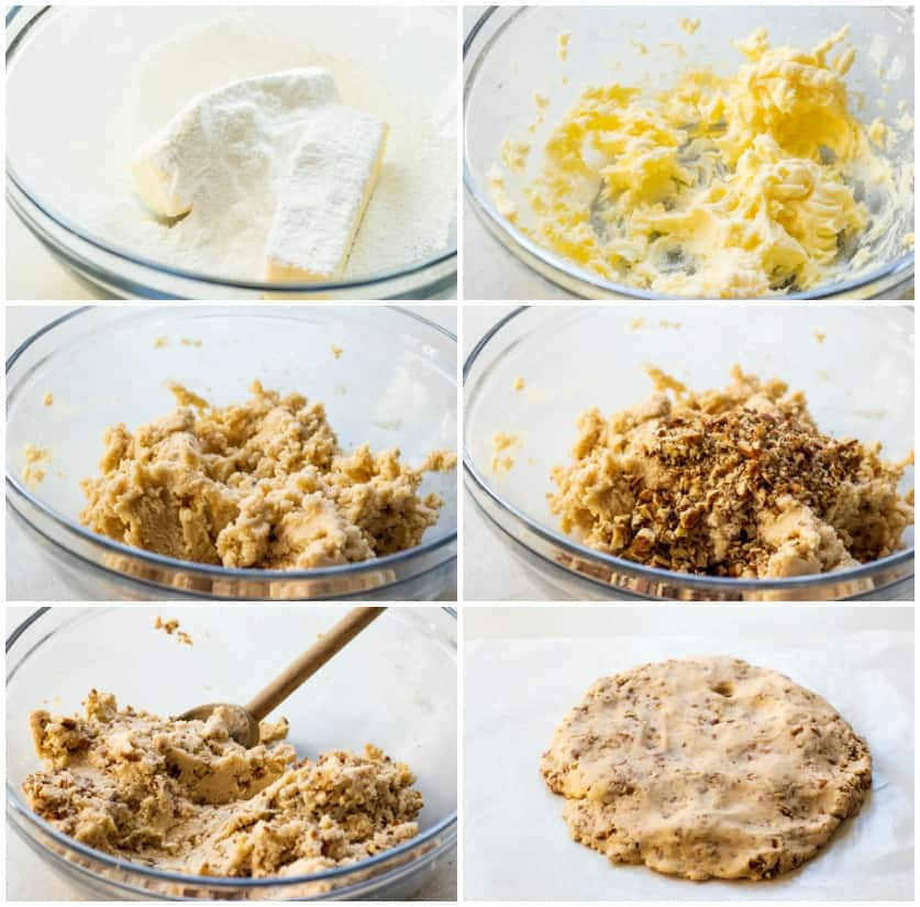 Step by step pictures showing how to make the cookie dough for Mexican wedding cookies.