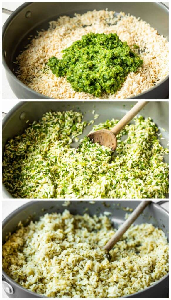 Step by step collage of making Mexican green rice.
