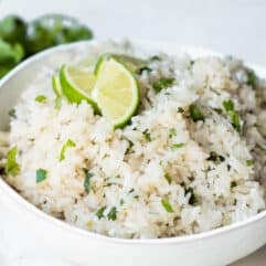 Bowl filled with cilantro lime rice.