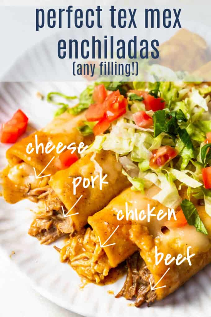 How to make enchiladas with any filling, image showing enchiladas made with chicken, pork, beef, and cheese.