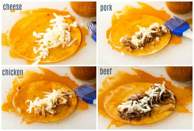 how to make enchiladas using different fillings, showing corn tortillas soaked in enchilada sauce topped with cheese, chicken, pork, and beef.