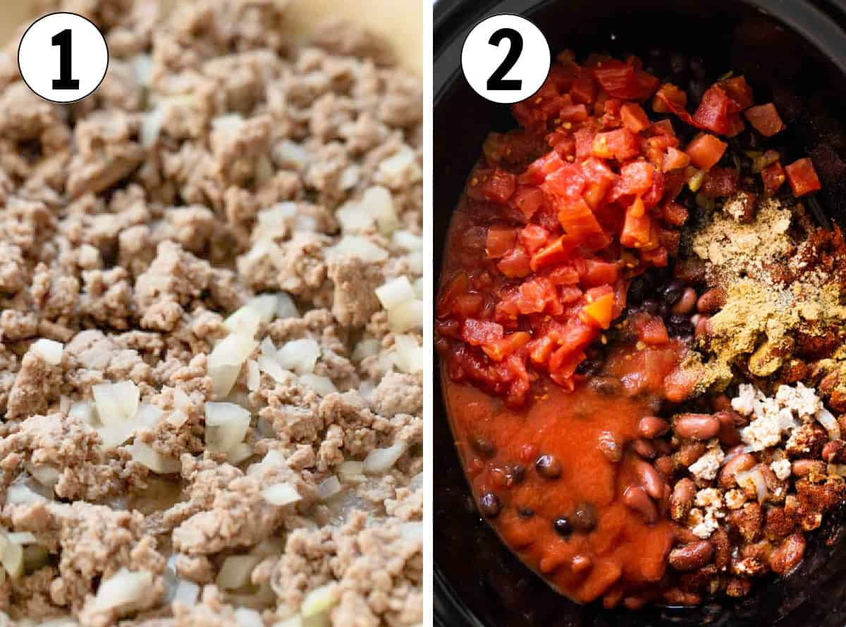 How to make turkey chili in a slow cooker, cooking the meat in the skillet, then adding the ingredients to the slow cooker.