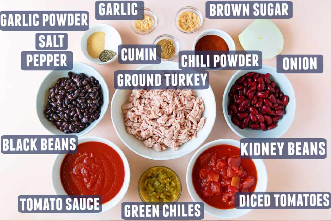 Ingredients needed to make turkey chili laid out on the counter.