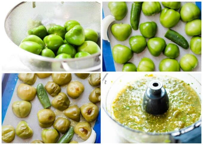 Step by step showing how to roast tomatillos.