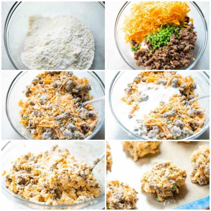 Step by step how to make cheese and sausage biscuits, showing butter cut into dry ingredients, sausage, cheese and jalapeño being added and stirred in, buttermilk stirred in, and biscuit dough dropped on baking sheet.