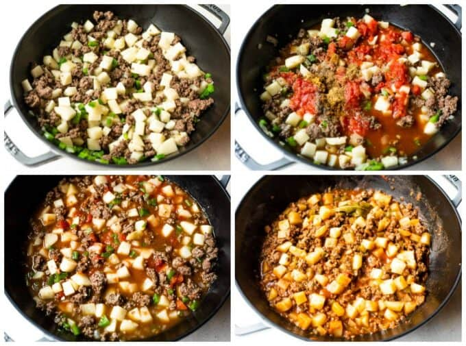 Step by step how to make Picadillo in a skillet, sautéing ground beef with potatoes, bell pepper and onion. Adding tomato sauce, broth and spices, bring to a simmer, and after cooking.