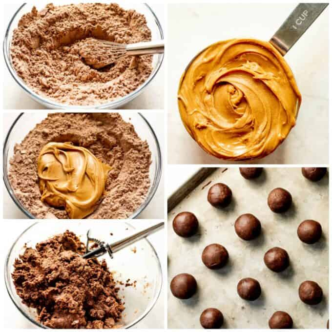 How to make no bake peanut butter brownie bites. Showing brownie mix in a bowl, a measuring cup filled with peanut butter, peanut butter added to the brownie mix. The dough mixed and a cookie scoop being used, then brownie bites rolled into ball shapes.