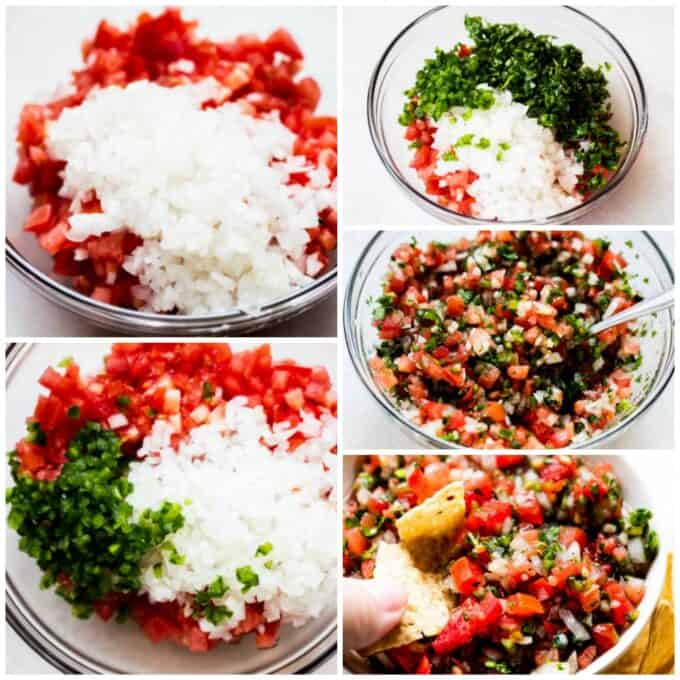 Step by step how to make pico de Gallo. Showing adding tomato, onion, jalapeño and cilantro to a bowl. Stirring with seasoning and lime juice, then dipping into it with a tortilla chip.