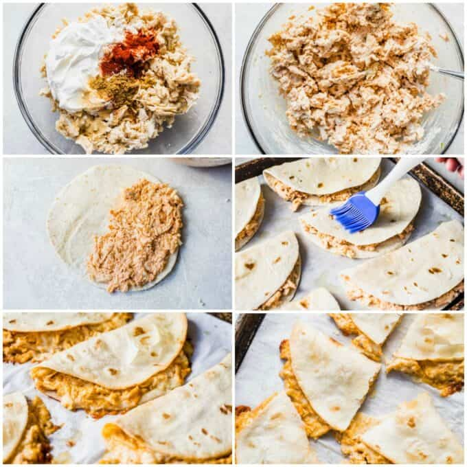 Step by step photos of how to make baked quesadillas. Mixing the shredded chicken with sour cream and spices. Adding cheese. spreading onto flour tortillas, brushing the tortillas with oil, baked on a large baking sheet and cut in half.