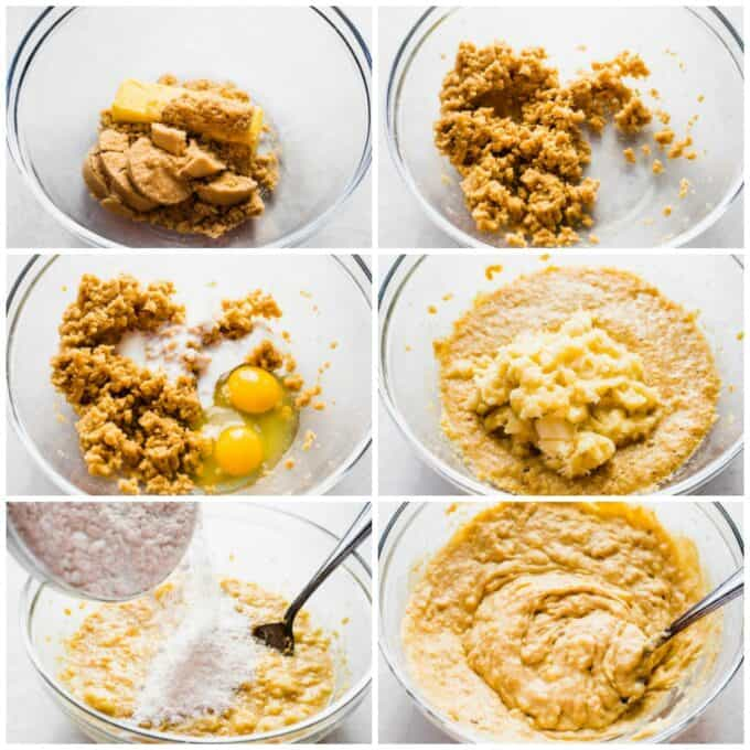 How to make banana bread. Displays cream butter with brown sugar, addition of eggs and buttermilk. Mix the mashed banana. Addition of dry ingredients. And stir the dough.