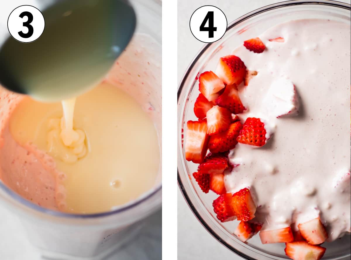 Sweetened condensed milk being added to the blender of strawberries and cream, then this cream mixture being poured over a bowl of diced strawberries.