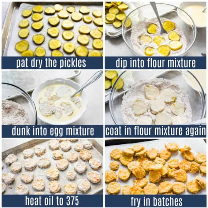 Picture collage showing how to make fried pickles step by step. Pickles drying on paper towels. Being dipped into flour mixture. Dunking into egg mixture. Coating in flour again. Pickles on a baking sheet ready to fry. After being fried.