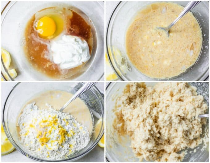 Picture collage showing how to make healthy lemon muffins, showing wet ingredients in a bowl, mixed together. Adding dry ingredients. Then the mixed batter.