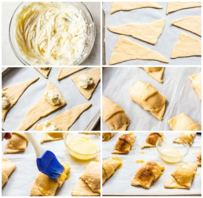 Step by step photos on how to make sopapilla cheesecake rolls, showing a bowl of cheesecake mixture, laid out crescent rolls, a scoop of cheesecake on each crescent roll, the crescent rolls rolled up, being brushed with butter and sprinkled with cinnamon sugar.