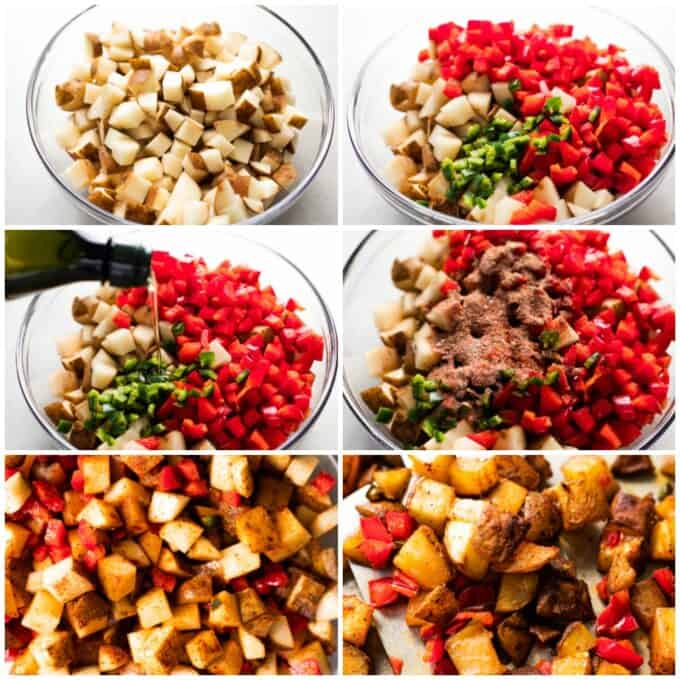 How to make breakfast potatoes, showing diced potatoes in a glass bowl, peppers added, drizzled with oil, seasonings being added, the potatoes spread out to bake, and after baking being served with a spatula.