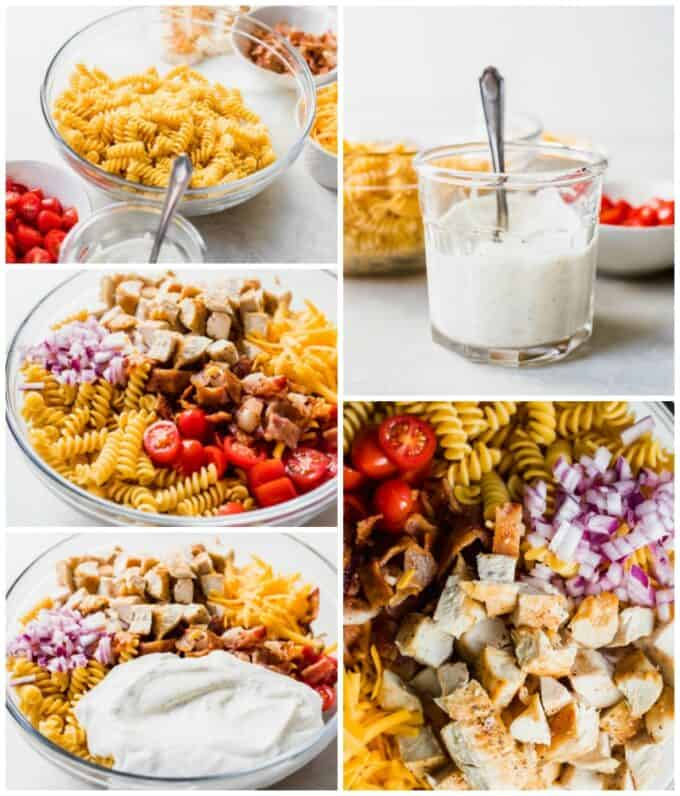 How to make chicken bacon ranch pasta salad, step by step picture collage, showing all the ingredients laid out, pasta in a bowl with all the toppings, then the homemade ranch in a jar and being poured over the pasta salad.