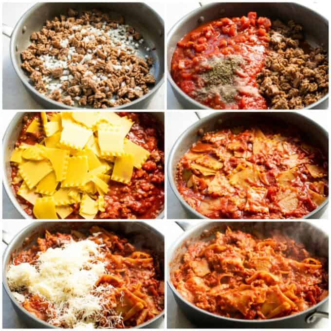 How to make Skillet lasagna shown step by step: browning sausage and cooking onion, adding tomato sauce and spices, adding the noodles and pressing into the sauce, cooked noodles with cheese being stirred in and finished lasagna pasta in the skillet.