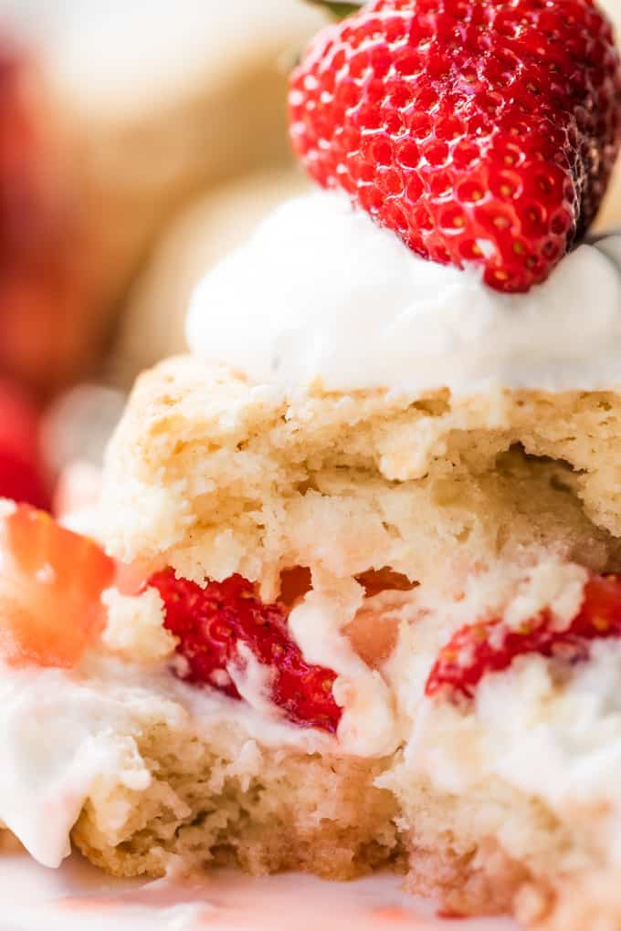 Up close view of a bite taken out of strawberry shortcake showing the texture of the biscuit.