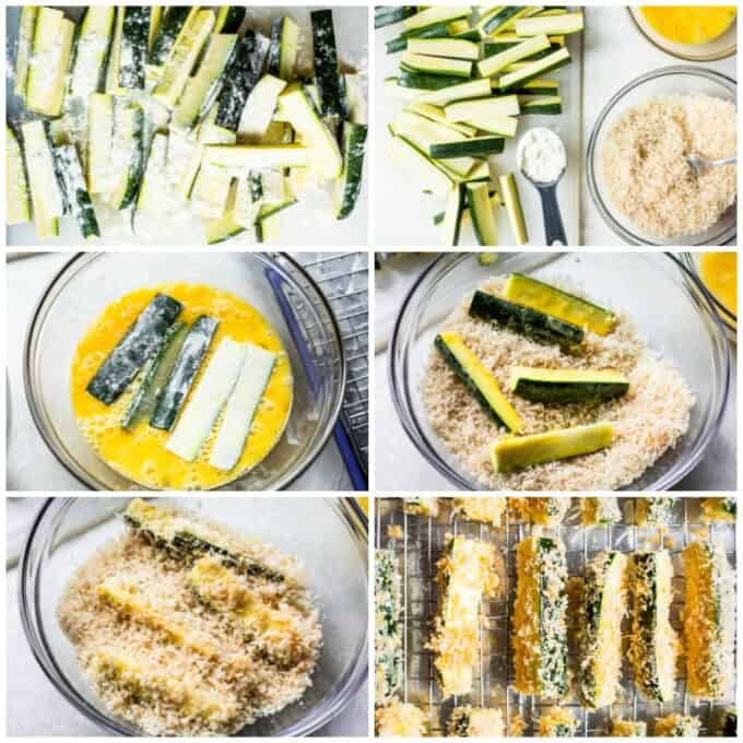 A how to make baked zucchini fries collage. Showing zucchini cut into fries, dusted with flour. A dipping station set up with zucchini, panko parmesan breading and a bowl of egg. Floured zucchini being dipped into egg, then being dipped into panko breading. And then placed on a baking rack over a large baking sheet.