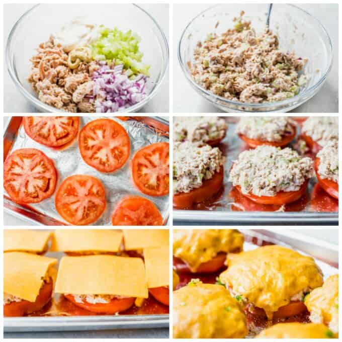 How to make tomato tuna melts step by step. Showing ingredient sin a glass bowl for tuna salad. Ingredients mixed together. A small baking sheet with thick slices of tomato that has been sprinkled with salt and pepper. The tomatoes topped with scoops of tuna salad. Tomato and tuna topped with slices of cheese. After baking, the cheese is melted over the top of the tuna and tomato.
