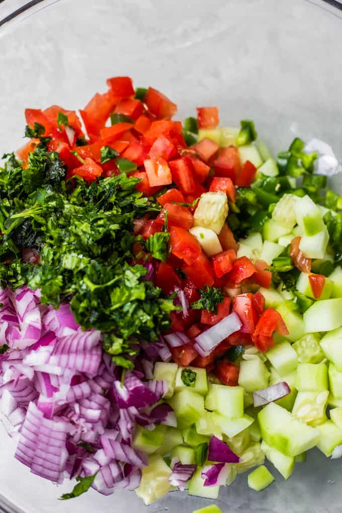 Glass bowl filled with diced red onion, cucumber, jalapeno, tomato and cilantro