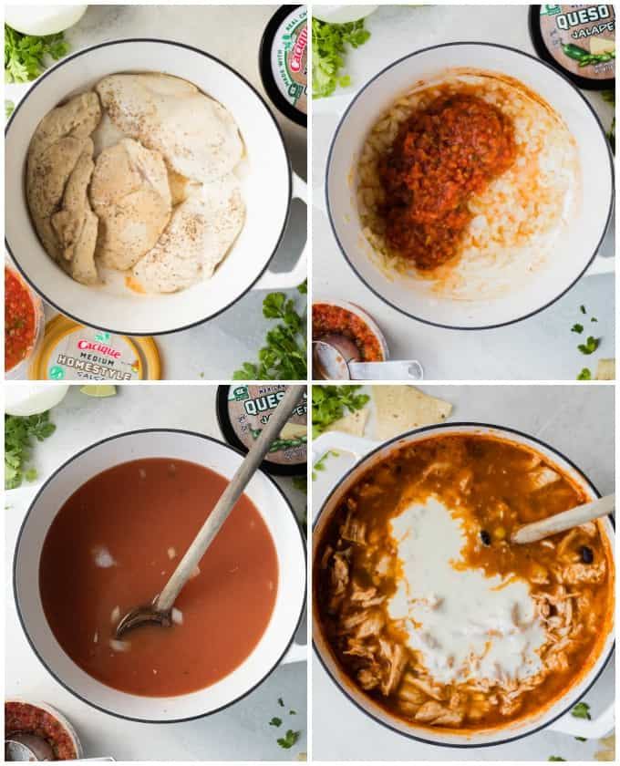 Collage showing how to make Chicken Queso Chili, showing searing the chicken, cooking onion and adding in salsa, cooking the chicken in the broth, stirring in the queso at the end.