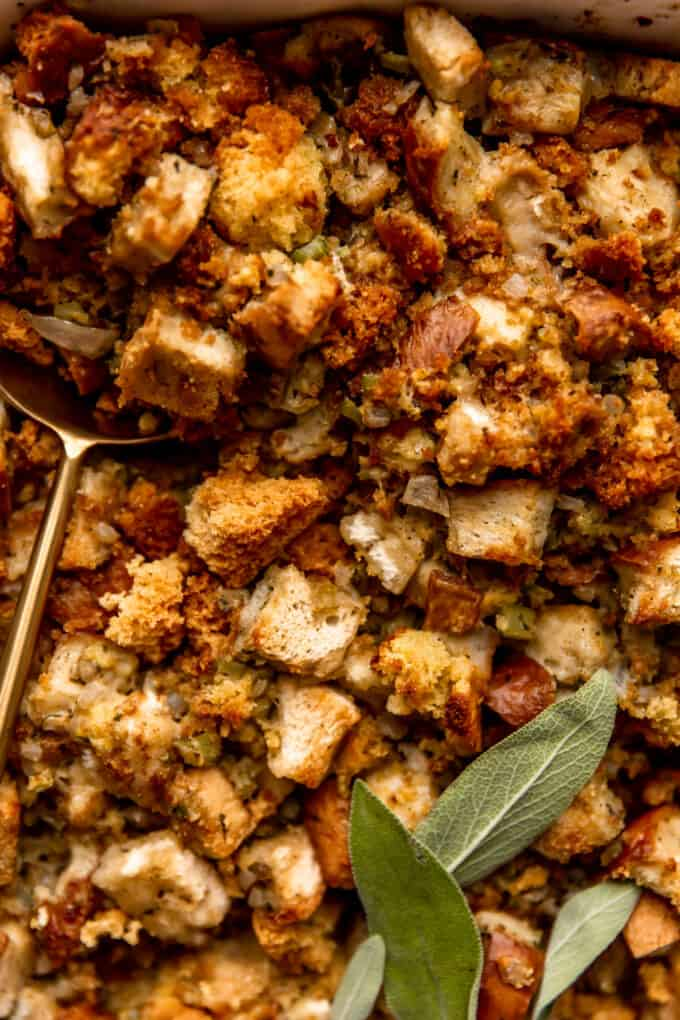 Up close look at baked cornbread dressing.