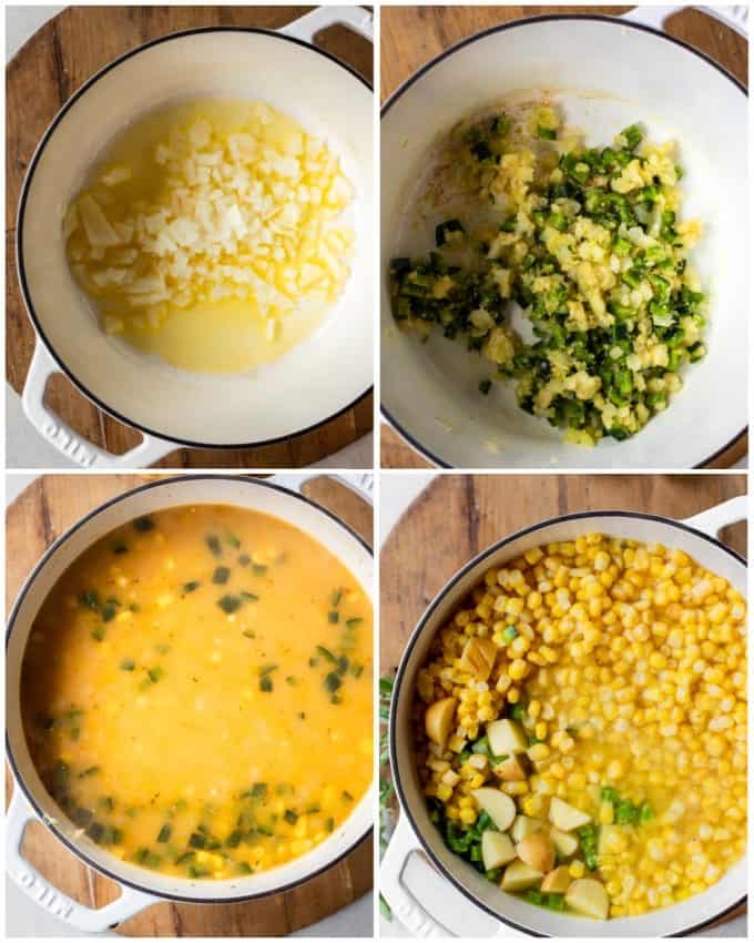 Step by step collage of how to make Mexican Street Corn chowder, sauteing onion in butter, adding poblano pepper, stirred with flour, broth added with corn and potatoes.