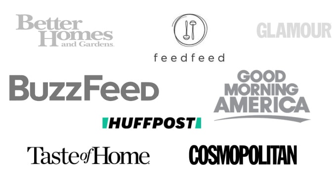 Logos of places that have featured House of Yumm and Serene Herrera