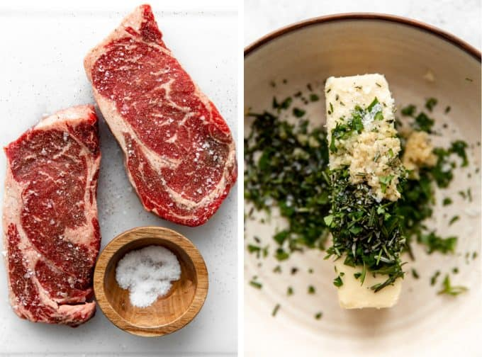 Ingredients needed to make a cast iron steak and garlic herb butter.