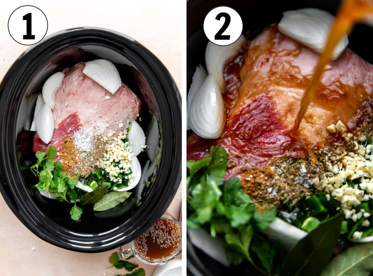 Step by step how to make slow cooked brisket for tacos. Showing ingredients added to a slow cooker then beef broth being poured over top.