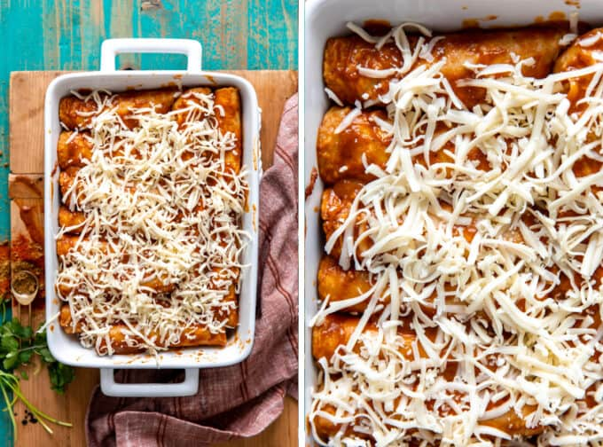 Baking dish filled with enchiladas topped with shredded jack cheese.