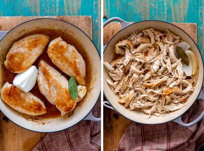 Chicken in a stock pot being cooked and shredded.