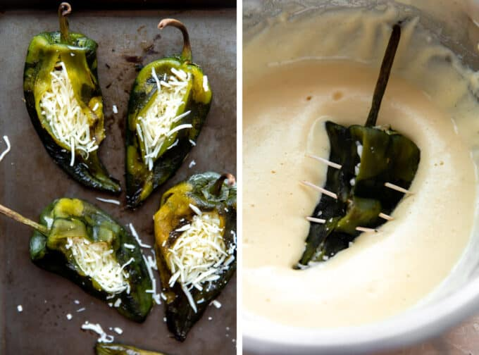 Poblano peppers stuffed with cheese and then closed with toothpicks and dipped into a fluffy egg batter.