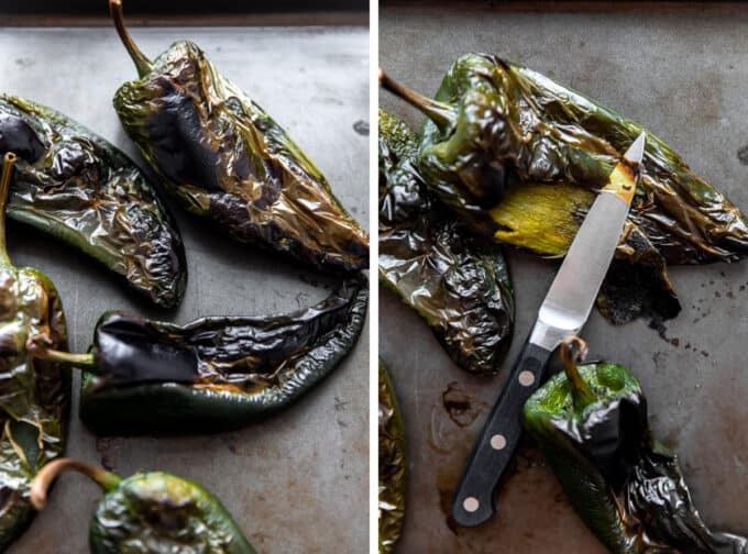 Poblano Peppers that have been roasted and blackened skin removed.