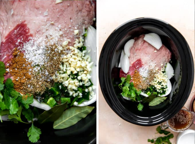 Slow cooker filled with raw brisket, onion, garlic, peppers, spices and broth for cooking.