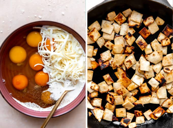 Collage showing eggs with cream and salt and pepper in a bowl. And tortillas that have been cut and fried in a skillet.