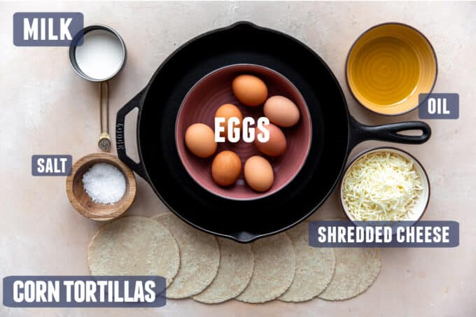Ingredients needed to make Migas laid out on the counter.