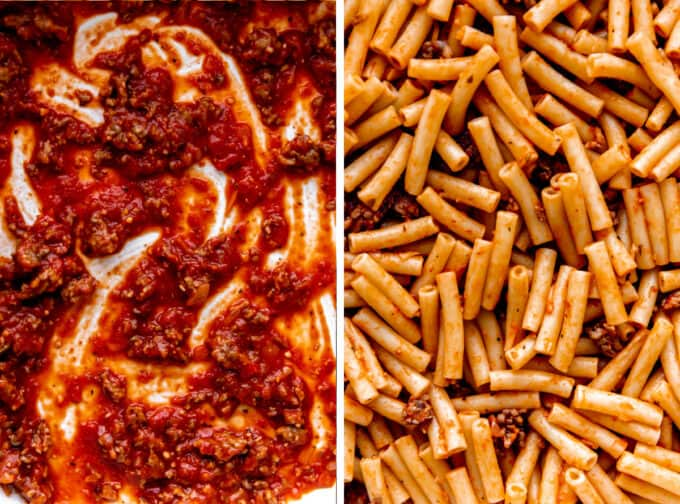 Step by step Baked Ziti Photos, showing spreading sauce and meat mixture in bottom of dish and layering noodles coated with sauce.