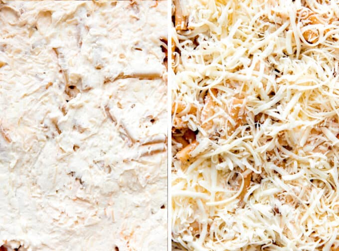 Step by Step how to make baked ziti photos showing spreading cheese mixture over noodles and then topping with shredded cheese.