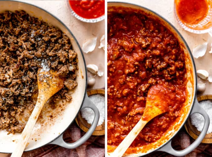 Step by step photos making meat sauce for baked ziti, cooking ground sausage and adding marinara sauce.