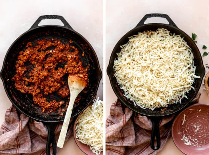 Skillet filled with chorizo and then topped with shredded cheese.