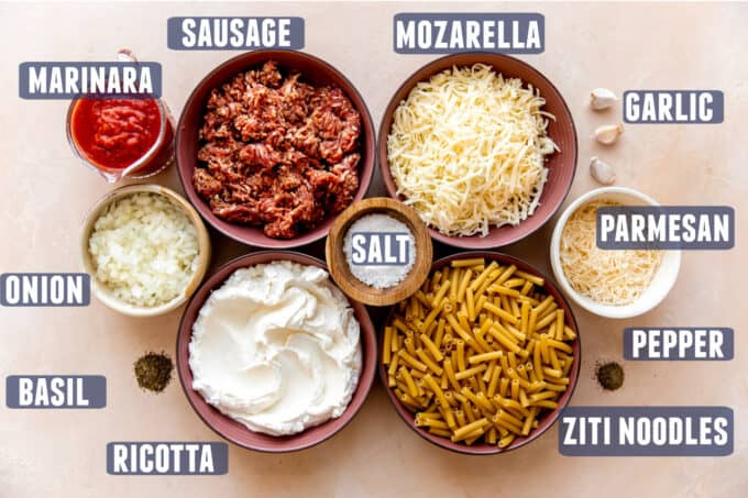 Ingredients needed for making Baked Ziti laid out on the counter.