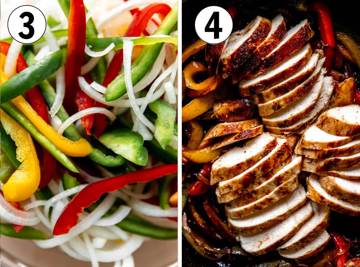How to make chicken fajitas, showing sliced bell peppers and onion and sliced cooked chicken.