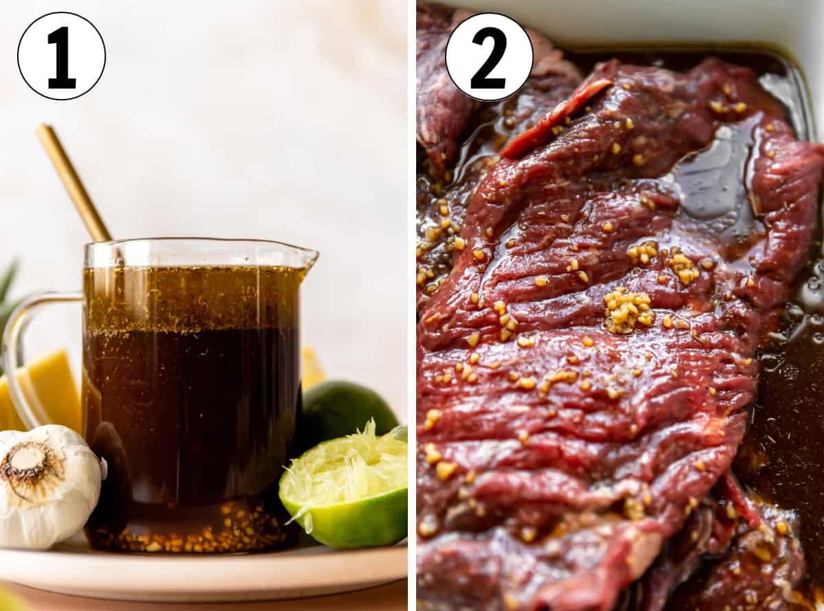 Collage images showing homemade fajita marinade, then flank steak being marinated in a large dish.