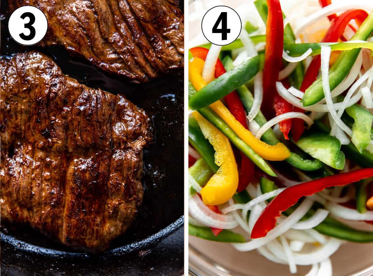 Collage showing grilled skirt steak and sliced vegetables for fajitas.