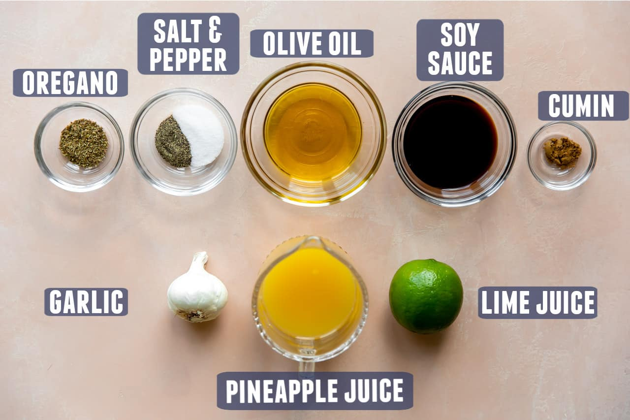 Ingredients needed for fajita marinade laid out on the counter