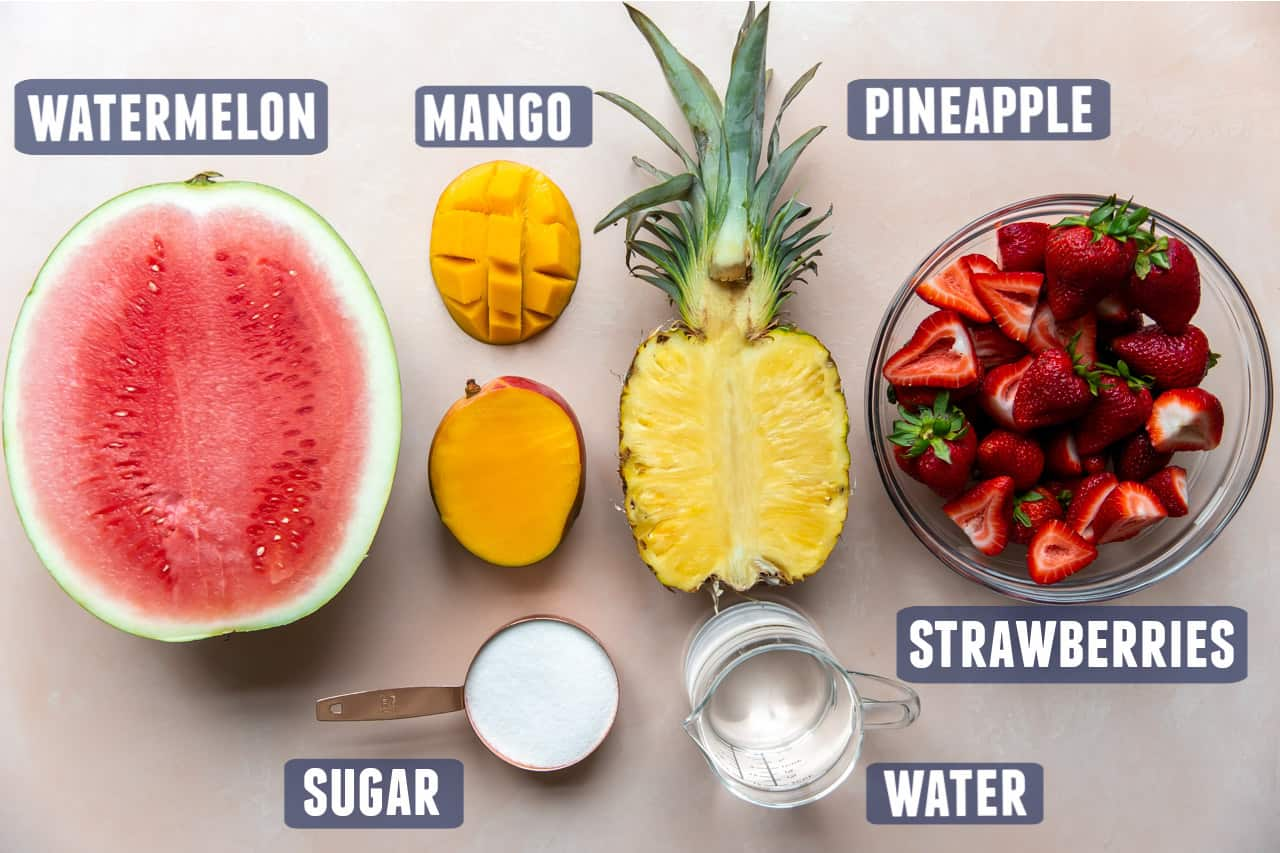 Ingredients needed for making agua fresca laid out on the counter.